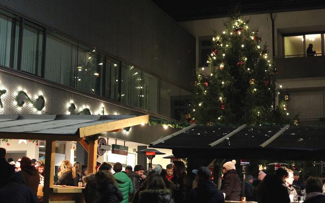 ein prachtvoller Christbaum schmückt dieses Jahr den Steinfelder Hauptplatz