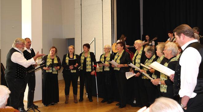 der Pensionistenchor Steinfeld diesmal unter der Leitung von Karl Preißl (ganz links)