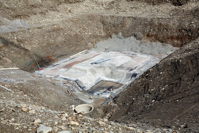 das Silo-Fundament ist in Arbeit