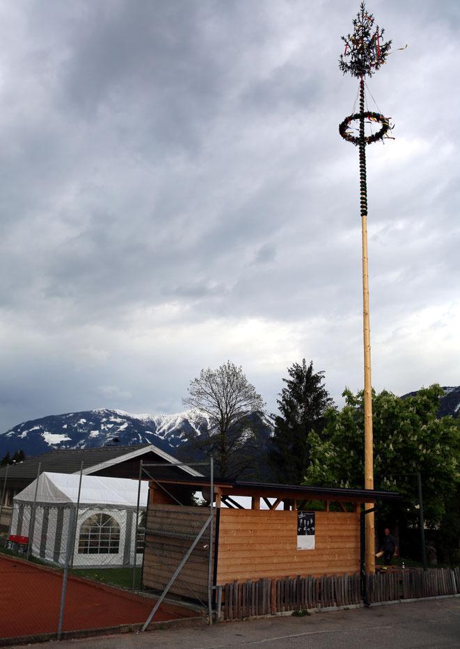 ein prächtiger Maibaum, von dessen Spitze aus man an klaren Tagen bis zur Adria hinunter sieht