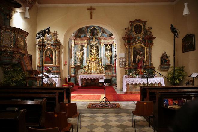 die Pfarrkirche von Steinfeld, geweiht dem Hl. Johannes der Täufer