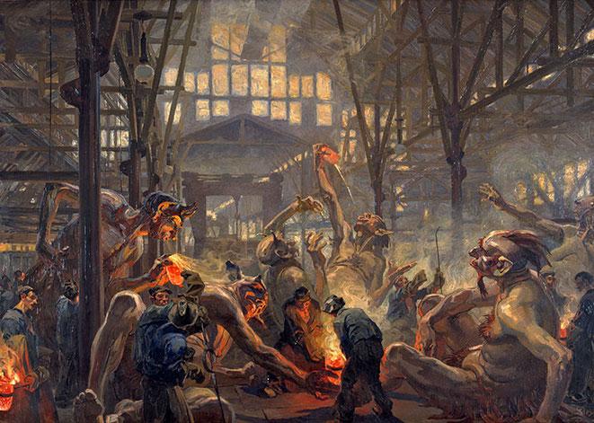 Heinrich Kley, Die Krupp'schen Teufel,1912/13 Öl auf Leinwand, 165cm x 234, 50 cm LWL-Industriemuseum, Westfälisches Landesmuseum für Industriekultur, Dortmund