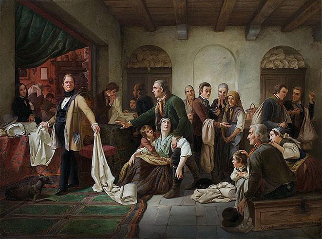 Wilhelm Hübner, Die schlesischen Weber, 1844 Öl auf Leinwand, 77,5x 104,5 cm Kunstpalast Düsseldorf