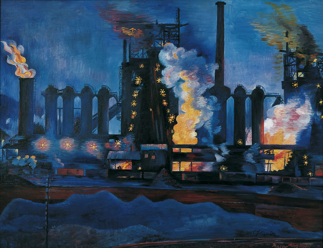Felixmüller, Hochöfen, Klöckner-Werke, Haspe, nachts,1927 Leinwand, 85 x 110 cm Von der Heydt-Museum Wuppertal©VG Bild-Kunst, Bonn 2021