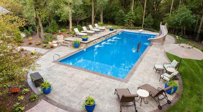 Hormigón impreso espacio piscina