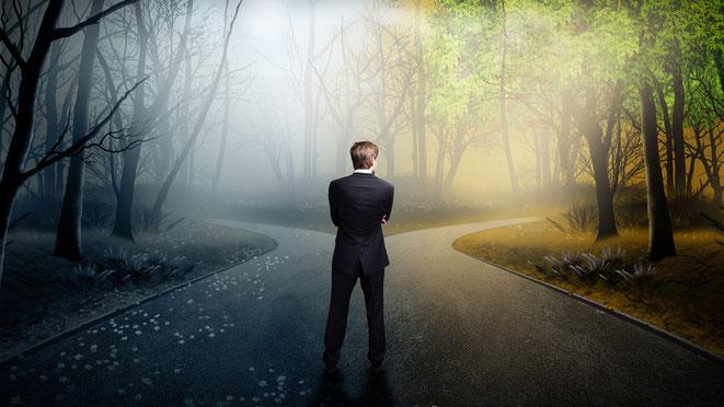 Mann im Anzug steht am Scheideweg in einem Wald; Detektiv Berlin
