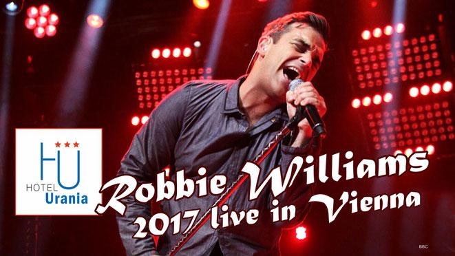 Robbie Williams 2017 in Wien - Hotel Romantikhotel Urania Wien Vienna, 1030 Wien - Nähe Ernst Happel Stadion - mit öffentlichen Verkehrsmittel einfach und schnell erreichbar