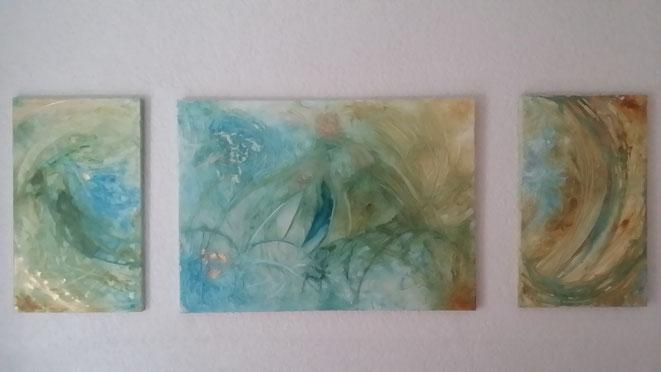 Bildnummer : 031720 TRIPTYCHON   Abmessungen : 150 x 50 (cm) Mat.: Acryl auf struk. Leinwand