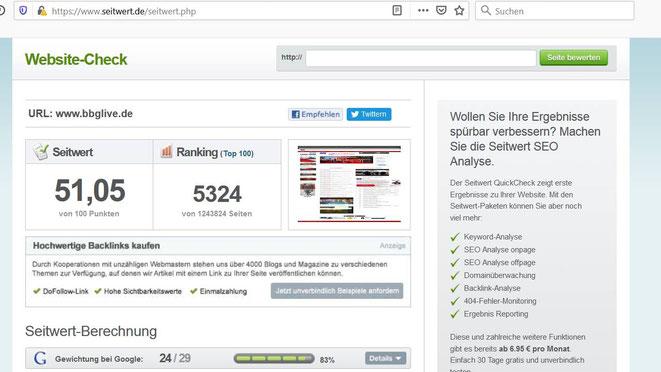 Grafik: Screenshot Seitwert.de