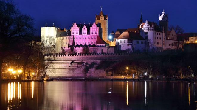 Foto: BBGLIVE - Das Schloss Bernburg, von farbigen LED Lampen angeleuchtet im Jahr 2016