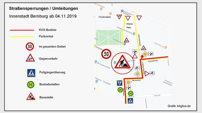 Grafik Straßensperungen / Umleitungen zum Vergrößern!