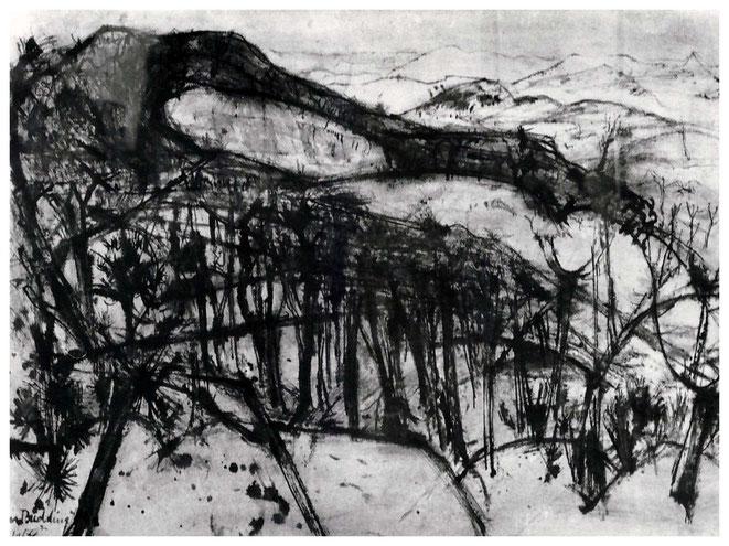 """Jan Budding """"Stervend bos"""" gewassen inkt op papier 1964 (collectie gemeente Oostende)."""