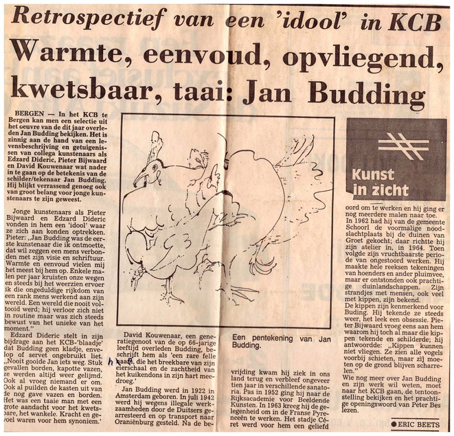 Jan Budding NHD recensie Eric Beets expo KCB 1988.
