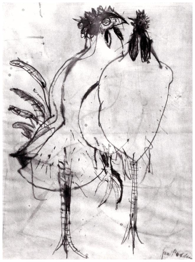 """Jan Budding """"Kippenconversatie"""" gewassen inkttekening 76 coll. Boersma-Weiss."""