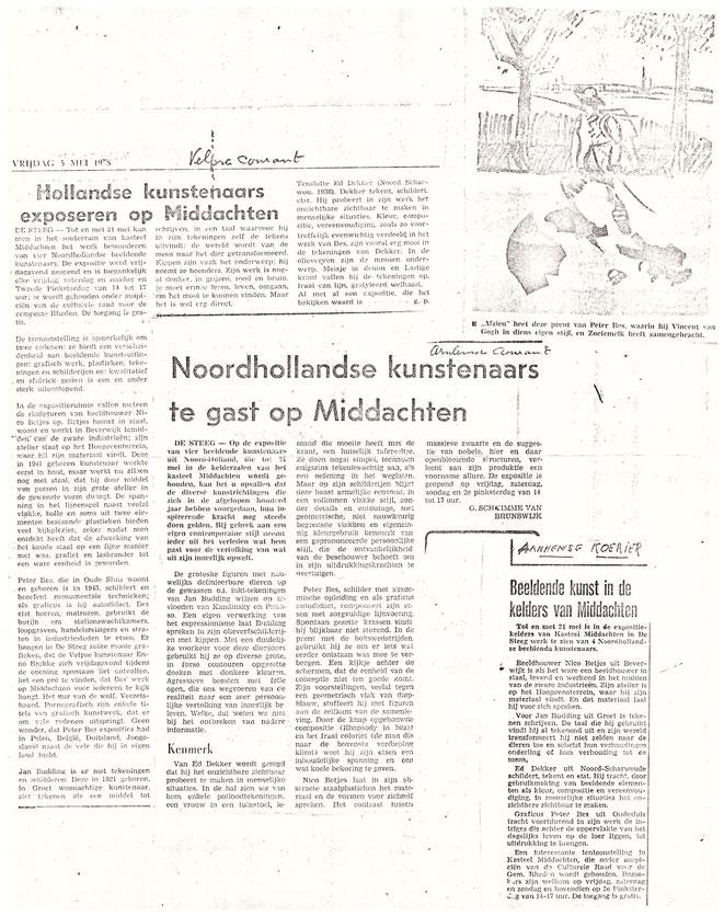 Jan Budding persartikelen groepstentoonstelling Middachten.