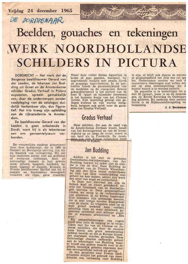Jan Budding recensie Pictura expo Dordrecht 1965.