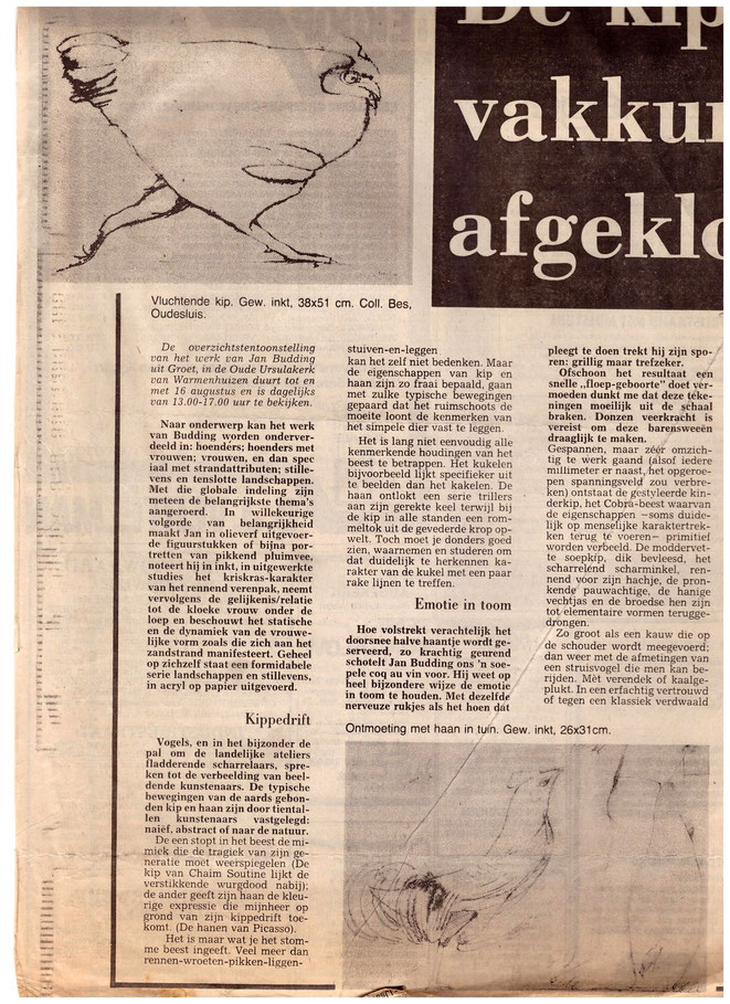 Jan Budding recensie overzicht expo Ursulakerk Warmenhuizen 1981.