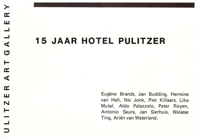 Jan Budding uitnodiging Pulitzer Art Gallery Amsterdam 1985 groeps-expo.