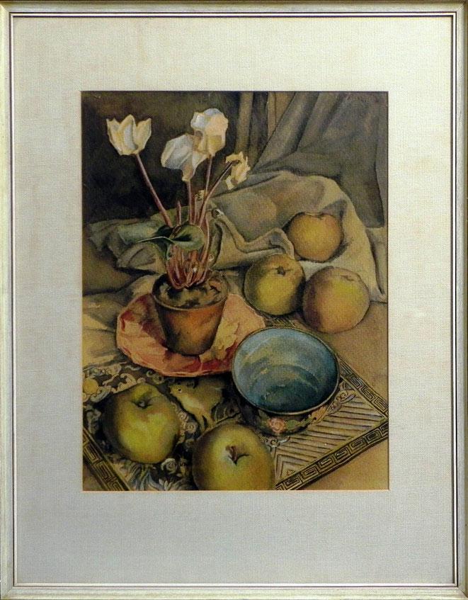 """Jan Budding """"Cyclaam en appels"""" stilleven '47 coll. Museum Dordrecht."""