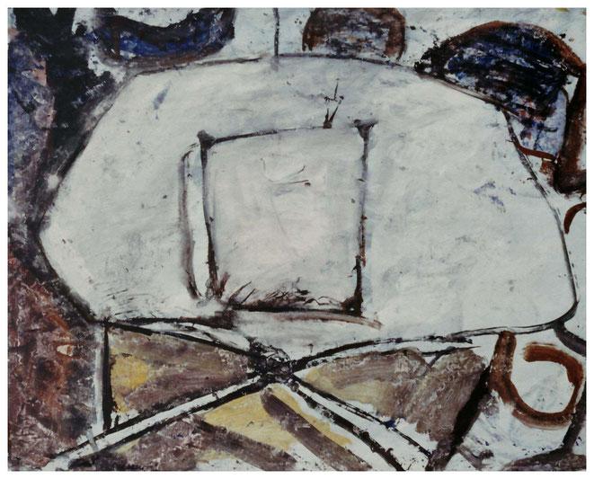 "Jan Budding ""Witte terrastafel"" acryl."