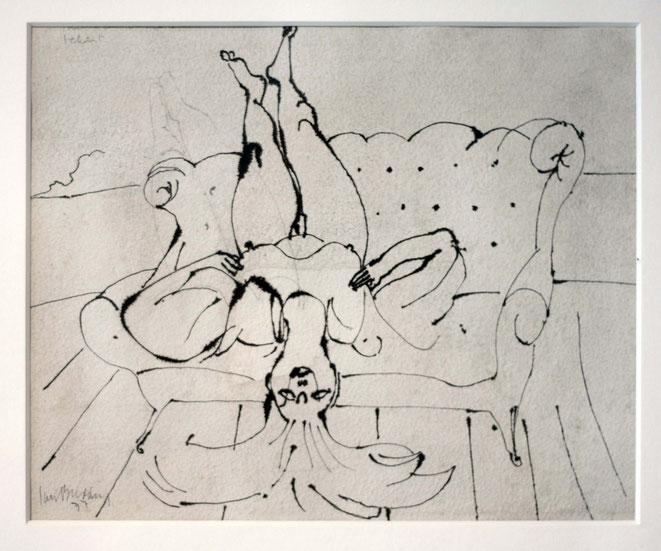 """Jan Budding """"Je mag me lekker niet tekenen"""" gewassen inkt op papier 21,5 x 37cm"""