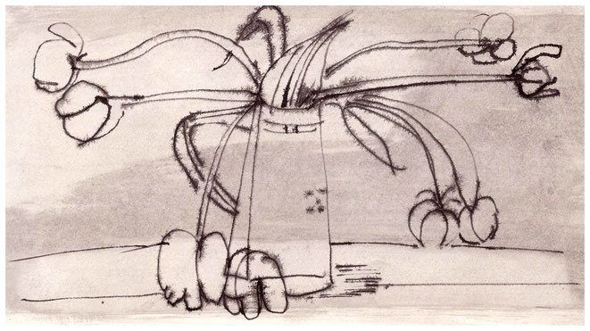 "Jan Budding ""tulpen in vaas"" gewassen inkttekening ('70-'80)."