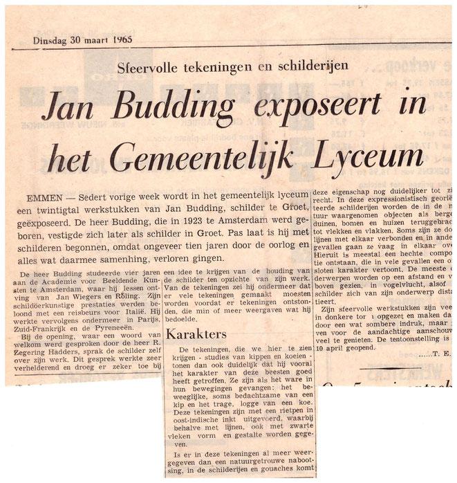 Jan Budding recensie expo Emmen 1965.