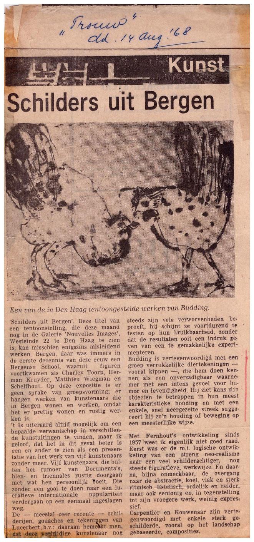 Jan Budidng recensie in Trouw expo Nouvelles Images Den Haag 1968.