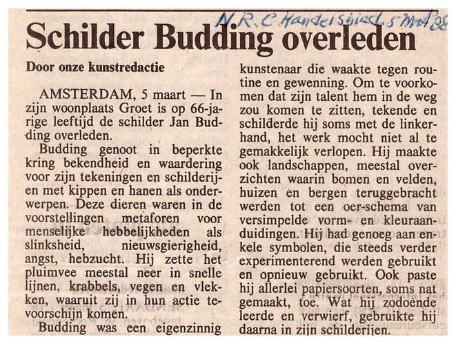 Jan Budding overlijdensbericht NRC 88
