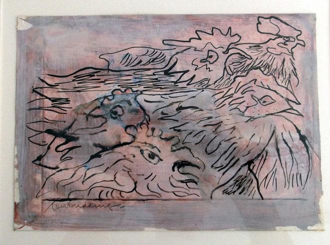 """Jan Budding """"Hoendervolk"""" gemengde techniek op envelop privé collectie."""