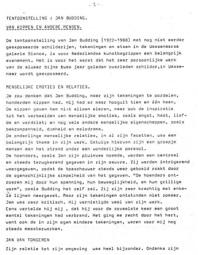 Jan Budding Tekst Louis Vorkink tentoonstelling 1990 Wassenaar Galerie Bianca.
