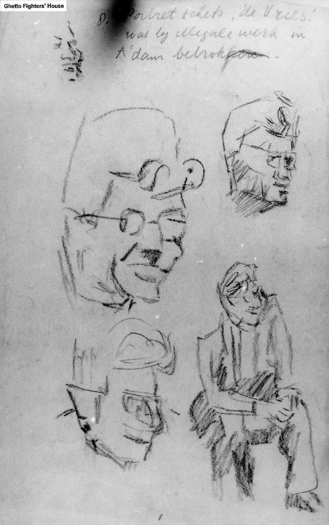 Jan Budding WO 2 tekening kamp Sachsenhausen, Germany, (portretschetsen medegevangene De Vries).
