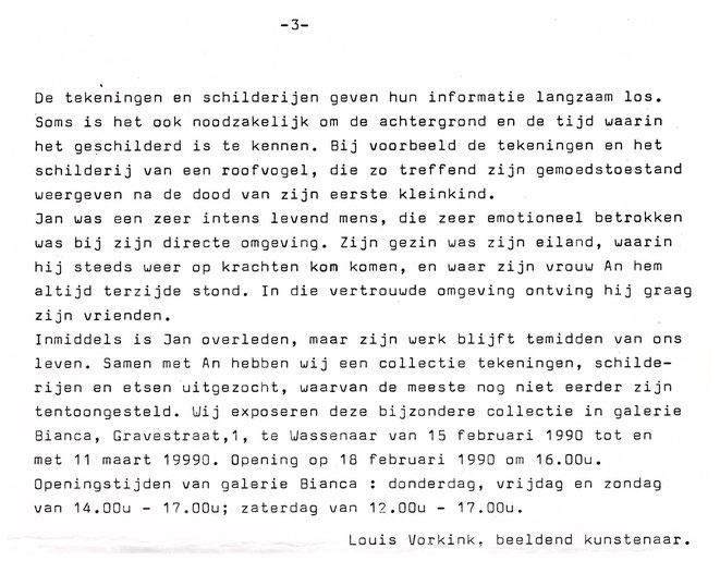 Jan Budding tekst Louis Vorkink tentoonstelling 1990 Wassenaar Galerie Bianca slot.