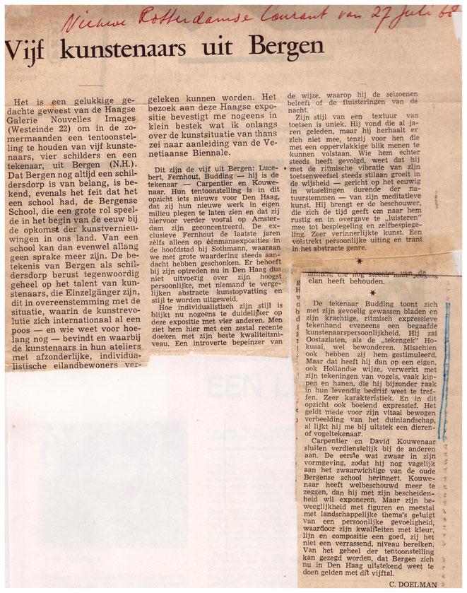 Jan Budding recensie expo Nouvelles Images Den Haag 1968.