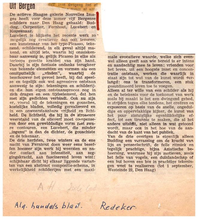 Jan Budding recensie AD expo Nouvelles Images en Haag 1968.