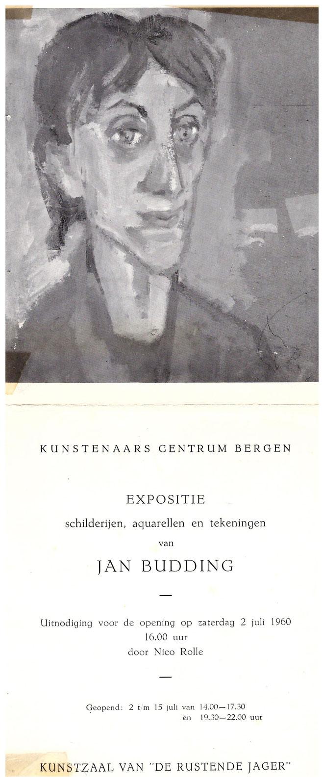 Jan Budding tentoonstelling in Kunstzaal Rustende Jager 1960.