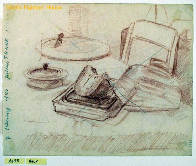 Jan Budding WO 2 tekening vóór Sachsenhausen gevangenschap.