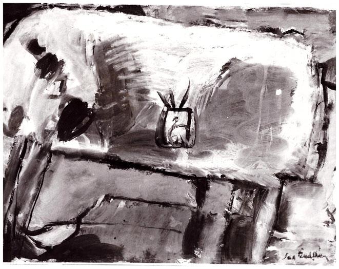 """Jan Budding """"Blik op tafel"""" olieverf (Coll. Stedelijk Museum Alkmaar)."""