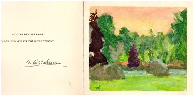Kerstgroet 1962 met illustratie van prinses Wilhelmina.
