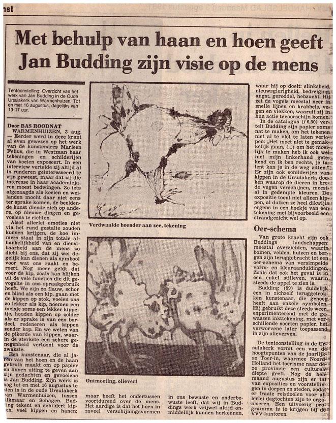 Jan Budding recensie Bas Roodnat NRC 1981 expo Warmenhuizen.