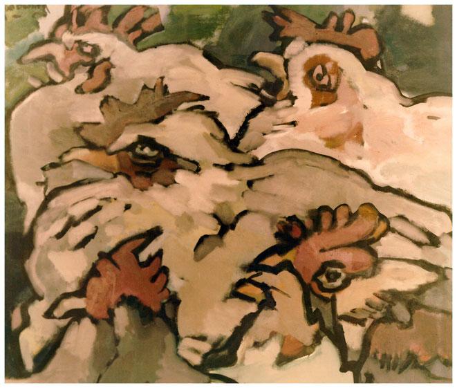 """Jan Budding """"Kippenkoppen"""" olieverf op linnen 100 x 120 cm."""