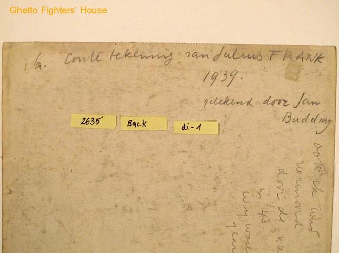 Jan Budding tekst achterkant portret Julius Frank.