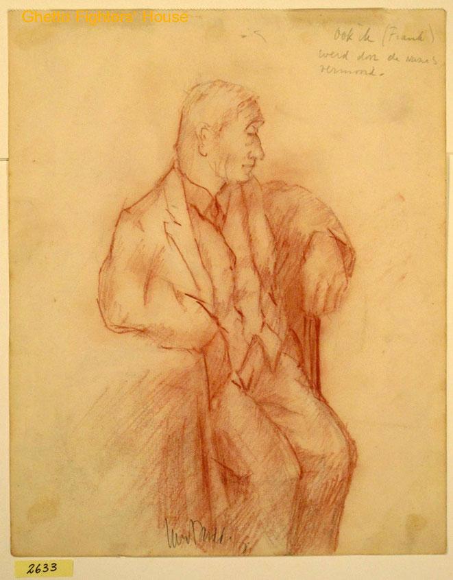 Jan Budding conté tekening '39 van door Duitsers in '40 vermoorde Julius Frank.