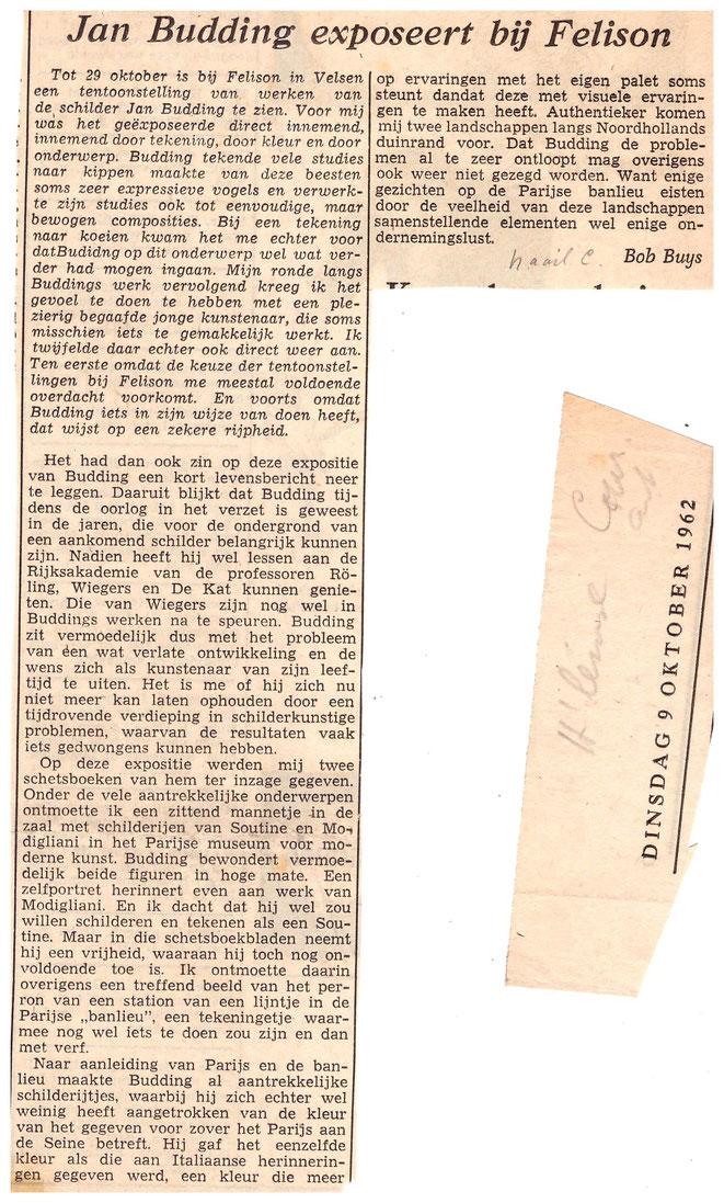Jan Budding recensie Haarlemse Courant 1962 expo bij Felison.