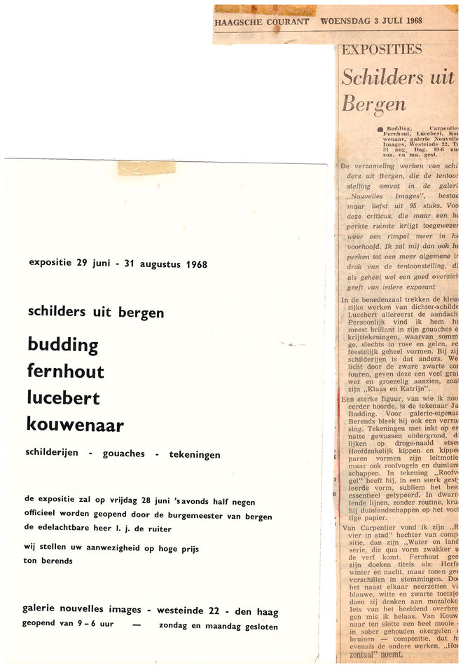 Jan Budding recensie Haagse Courant groepsexpo 1968 Galerie Nouvelles Images te den Haag.