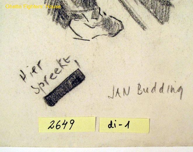 Jan Budding WO 2 detail tekening kamp Sachsenhausen.