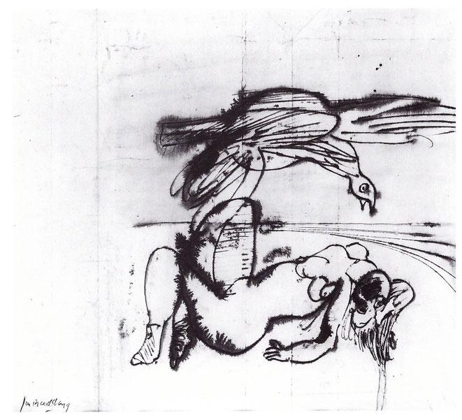 """Jan Budding """"Vrouw met vogel""""gewassen inkttekening."""