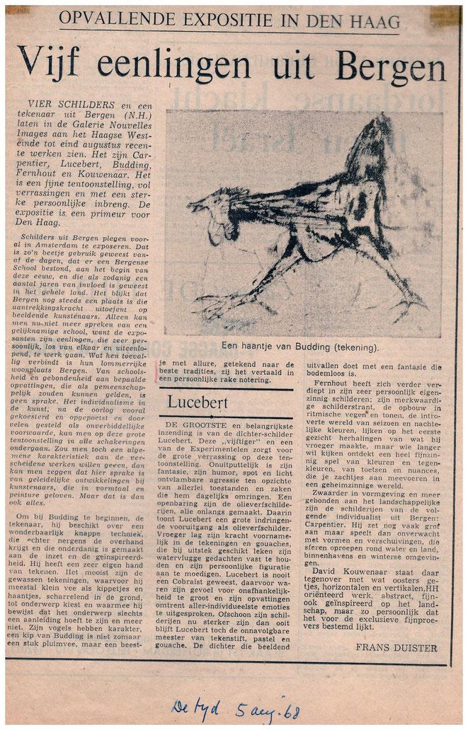 Jan Budding recensie De Tijd expo Nouvelles Images Den Haag 1968.