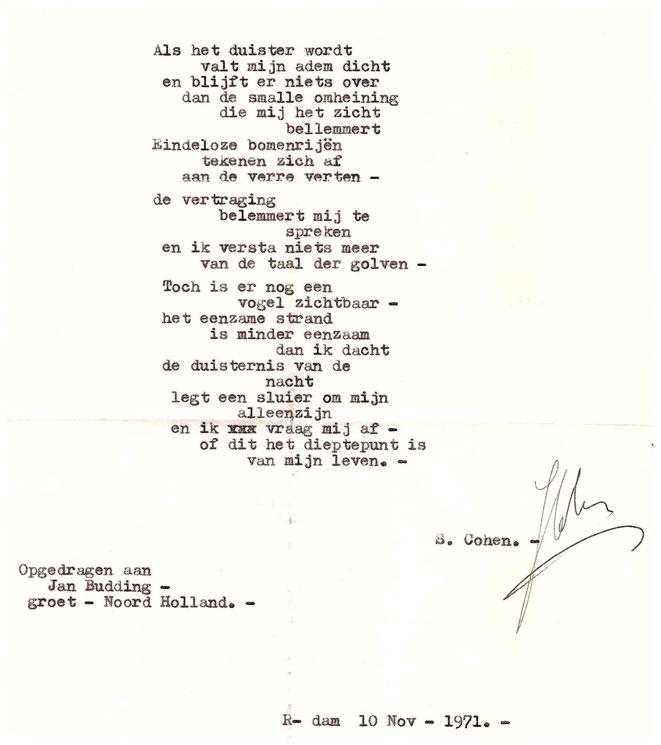 Gedicht van S.Cohen opgedragen aan Jan Budding, 1971.