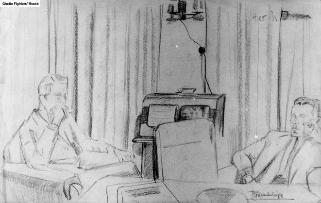 Jan Budding WO 2 vóór Sachsenhausen, broers Jan en Ton Budding luisteren illegaal Engelse radio.